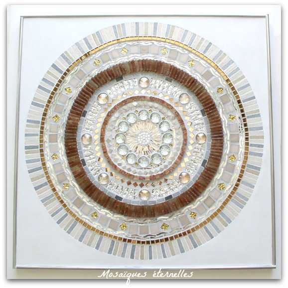Tableau mosaique contemporaine Ronde zen