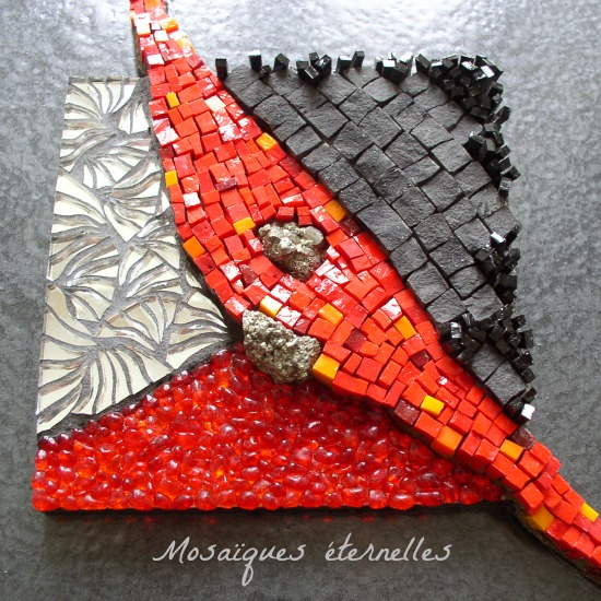 Tableau mosaique contemporaine `Incandescence`